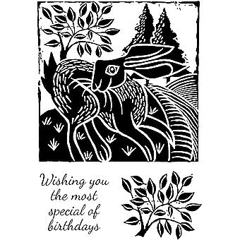 Woodware Clear Stamps - Lino Cut - Lebre nos Campos