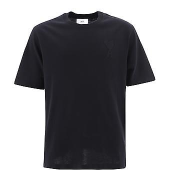 Ami E21hj128726001 Men's Black Cotton T-shirt