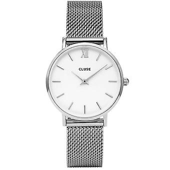 Cluse Cl30009 Minuit White & Silver Mesh Ladies Watch