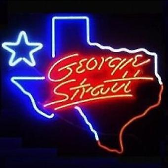 George Strait Texas Glass Neon Light Sign Beer Bar