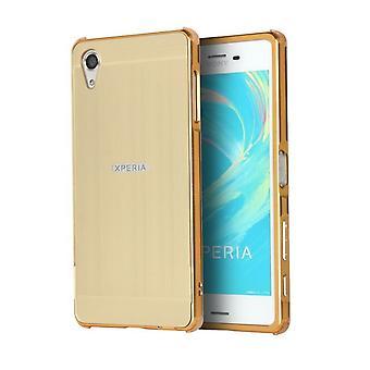 Schokbestendige lichtmetaal + koolstofvezel hoesje voor Sony Xperia XA2 - Goud