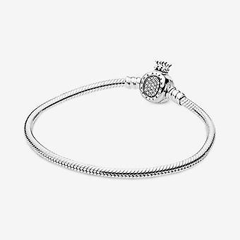 Pandora Moments Crown O Clasp Snake Chain Bracelet 21 cm