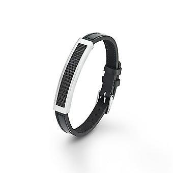 s.Oliver juvel mens läder armband rostfritt stål SO864/1 - 437813