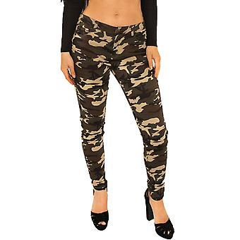 Slim Camouflage Hipster Trousers Short Leg- Green & Brown