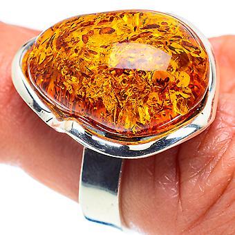 Tamanho do anel âmbar báltico ajustável 7(925 Sterling Silver) - Handmade Boho Vintage Jewely RING58308