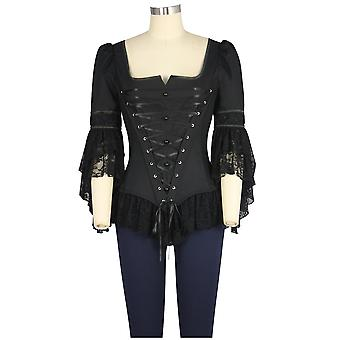 Chic Star Corset Lace Top In Black