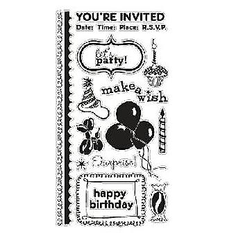 American Crafts Clear Stamp Set - Birthday - Large