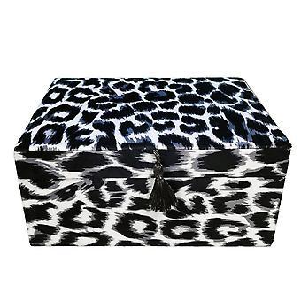 Smyckeskrin Sammet Svart/vitt Leopard