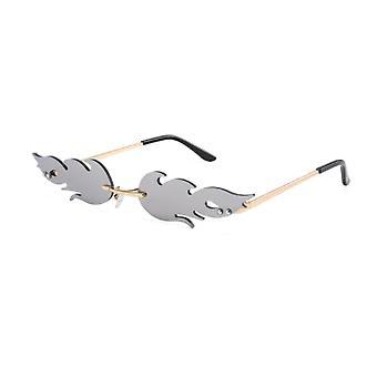 Óculos de sol de fogo de luxo, mulheres sem borda onda metal tons eyewear