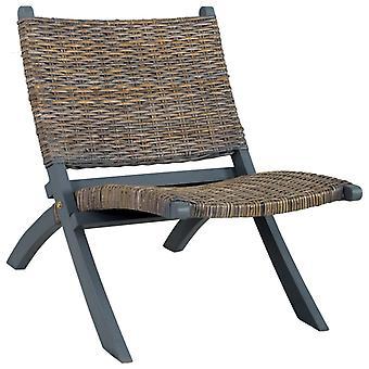 vidaXL chaise de relaxe gris nature kubu-rotin et bois massif en acajou