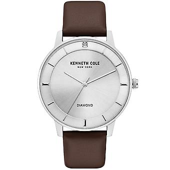 Kenneth Cole Kc50857002 Modern Classic Diamond Silver & Brown Leather Mens Watch