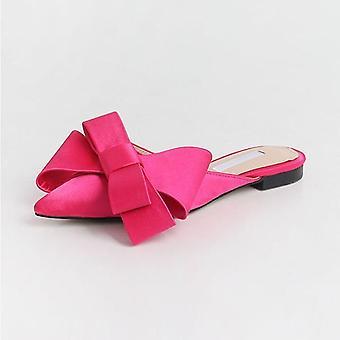 Damskor Korean Silk Satin Spetsig Bow Tie Tofflor Baotou Flat Heel Sätter Semi Tofflor
