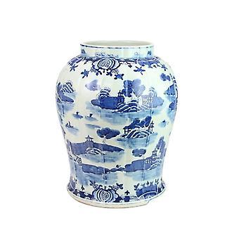Elegante blaue alte China Wasser Stadt Architektur Vase