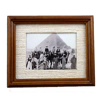 Dolls House Foreign Travels Picture Painting In Walnut Frame Miniature Accessory