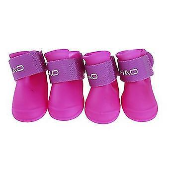 Xl červené sady štěněte psí dešťové boty candy barva pryskyřice vodotěsné pet dráp boty paw x3375
