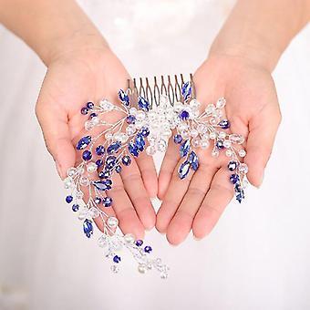 Moda Azul Casamento Renoso Pente De Cristal Headwear