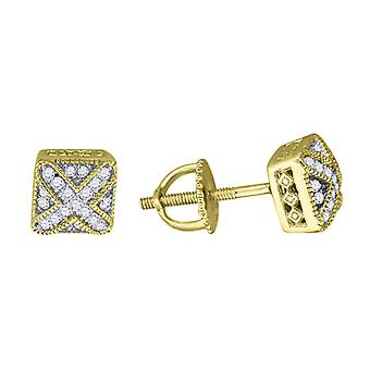 925 Sterling Silver Mens Yellow tone CZ Square Dome Stud Earrings Measures 6.5x6.5mm Wide Jewelry Gifts for Men
