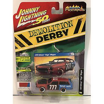 1972 Chevy Vega Wagon Cranberry Red Med Blue 1:64 Scale Johnny Lightning JLSF013A