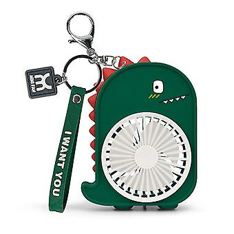 Dinosaur Backpack Keychain Pocket Fan Usb Charge Outdoors Fans Keyring Small Fan Key Chains(Yellow)