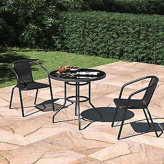 Set von 3 Garten Glas Sonnenschirm Tisch und stapelbare Stühle Set
