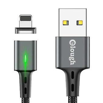 Elough iPhone Lightning Magnetic Charging Cable 2 Meters with LED Light - 3A Fast Charging Braided Nylon Charger Data Cable Android Gray