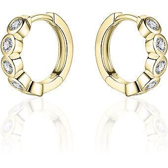 Bijoux Gisser - Boucles d'oreilles - Boucles d'oreilles fixées avec des pierres de zircone en conversion Glad - 16mmØ - 3mm de large - Or jaune Plaqué Argent 925