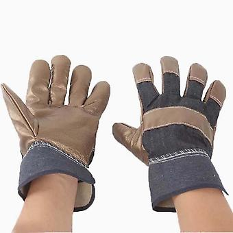 Cow Leather Anti Cut Gloves Heat Resistant Potection Welding Gloves