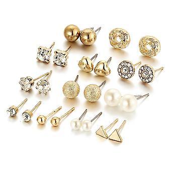 12 Paires Golden Ear Studs Set Zircon Peach Heart Triangle Boucles d'oreilles en strass pour une utilisation quotidienne