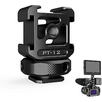 """On Camera 3 Cold Shoe Monitor Mount, Triple Cold Shoe Adapter Tripod 1/4"""""""