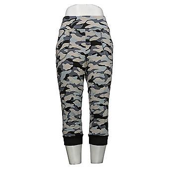 LOGO by Lori Goldstein Women's Pants French Terry Camo Capri Gray A264592