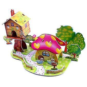 Diy houkutteleva sarjakuva linna puutarha talo 3d palapeli