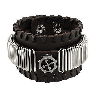 Braune Lederarmband mit Chrom Ringe Faux Kompass-Center