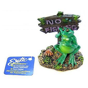 "Blue Ribbon Pot Belly Frog No Fishing Sign Ornament - 3""L x 3""W x 3.5""H"