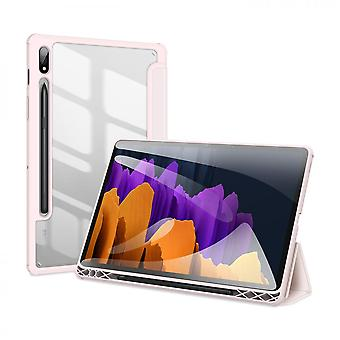 Case For Samsung Galaxy Tab S7,folio Trifold Stand Smart Cover With Detachable Slim Hard Shell Transparent Back Cover - Pink