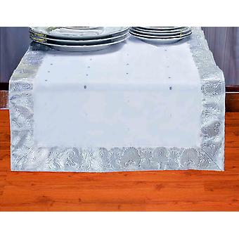 Blanc argent - Hand Crafted Table Runner (Inde)