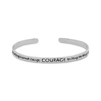 Oxiderat 925 sterling silver manschetten armband med Serenity bön