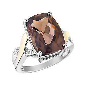 Smokey Quartz Ring 5.80 Carats (ctw) in Sterling Silver and 14K Gold Accents