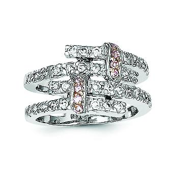 925 Sterling Silver Solid Polished Rhodium-plated and Pink Gold-Flashed Cubic Zirconia Ring - Ring Size: 6 to 8