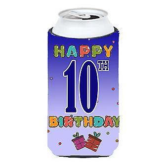 Glad 10th årsdag lång pojke dryck isolator Hugger