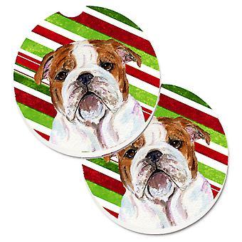 Buldog angielski Candy Cane Christmas Holiday zestaw 2 szklanki posiadacz samochodu podstawki