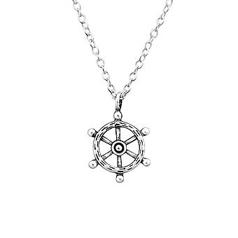 Ship's Wheel - 925 Sterling Silver Plain Necklaces - W32248x