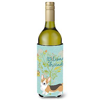 Welcome Friends Pembroke Welsh Corgi Tricolor Wine Bottle Beverge Insulator Hugg