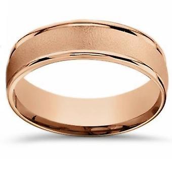 14K Rose goud geborsteld Comfort Fit 6mm trouwring
