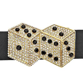 Iced out bling bælte - DOUBLE DICE guld