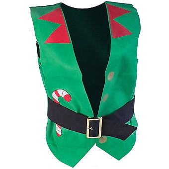 Christmas Mens Festive Elf Workshop Branded Polyester Waistcoat