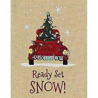 Ready Set Snow Old Red Pickup Truck and Christmas Tree Embroidered Kitchen Towel