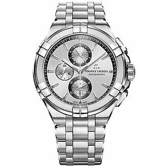 Maurice Lacroix Mens Aikon acier inoxydable Bracelet cadran argent AI1018-SS002-130-1 montre