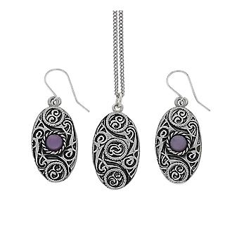 Fatto a mano disegno celtico ovale ciondolo catena peltro e ametista Moonstone orecchini Set