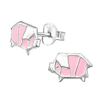 Origami cerdo - 925 plata esterlina colorido zarcillos - W30570x
