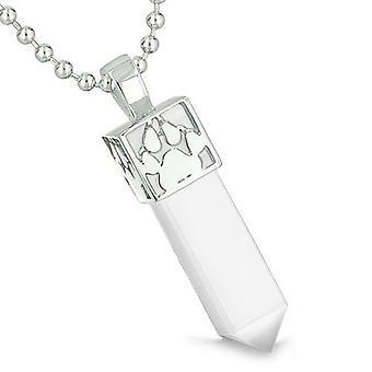 Amulet Reversible Wolf Paw Kanji Super Magic Powers White Cats Eye Crystal Point Pendant Necklace